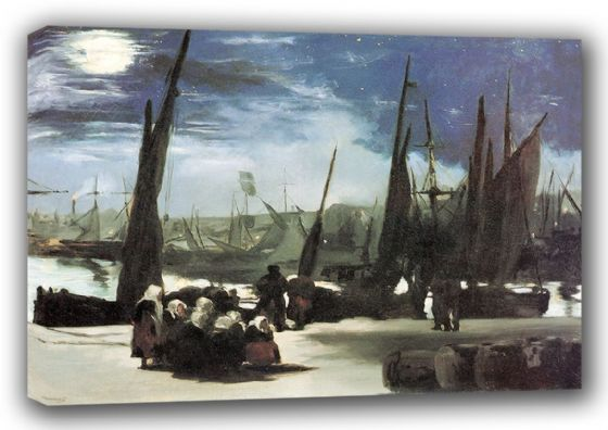 Manet, Edouard: Moonlight on Boulogne Harbour. Fine Art Canvas. Sizes: A3/A2/A1 (00679)